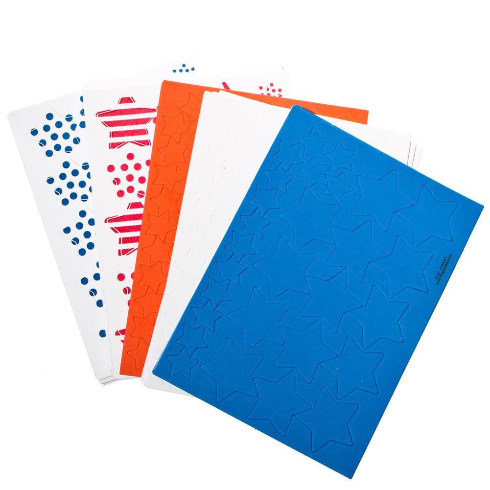 Patriotic Printed Adhesive Star Foam Shapes