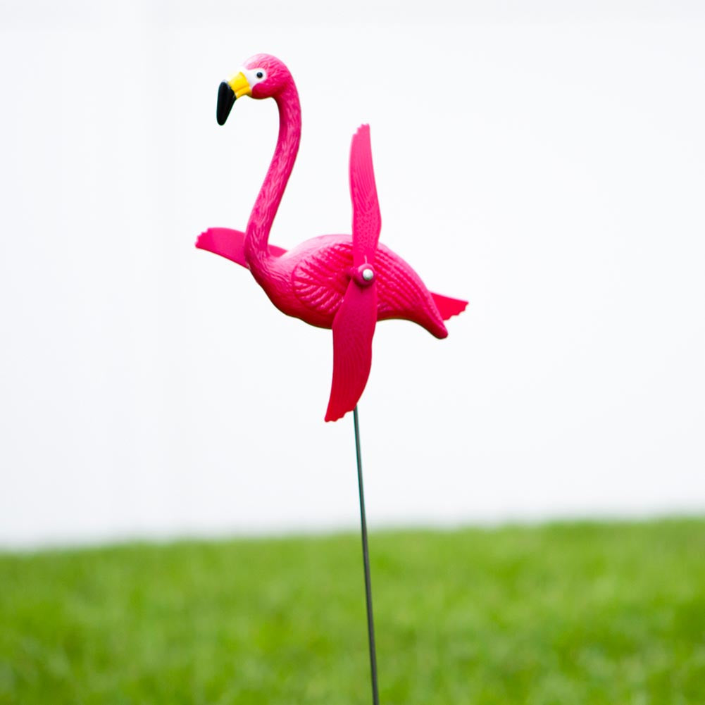 Flamingo Twirling Yard Stakes