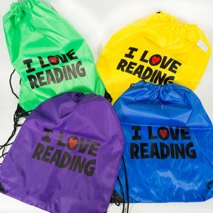 I Love Reading Drawstring Backpack