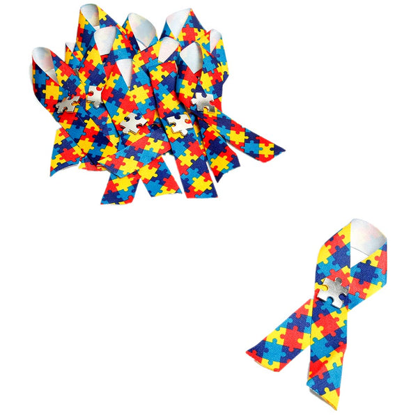 Autism Awareness Puzzle Ribbon Pins