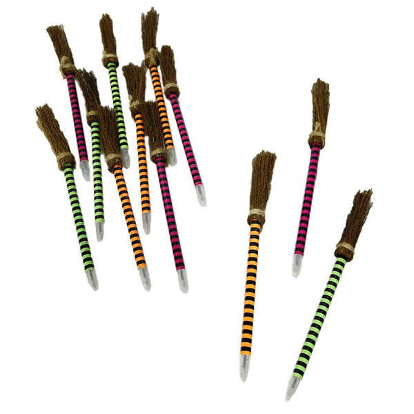 Neon Striped Witches Broom Pens