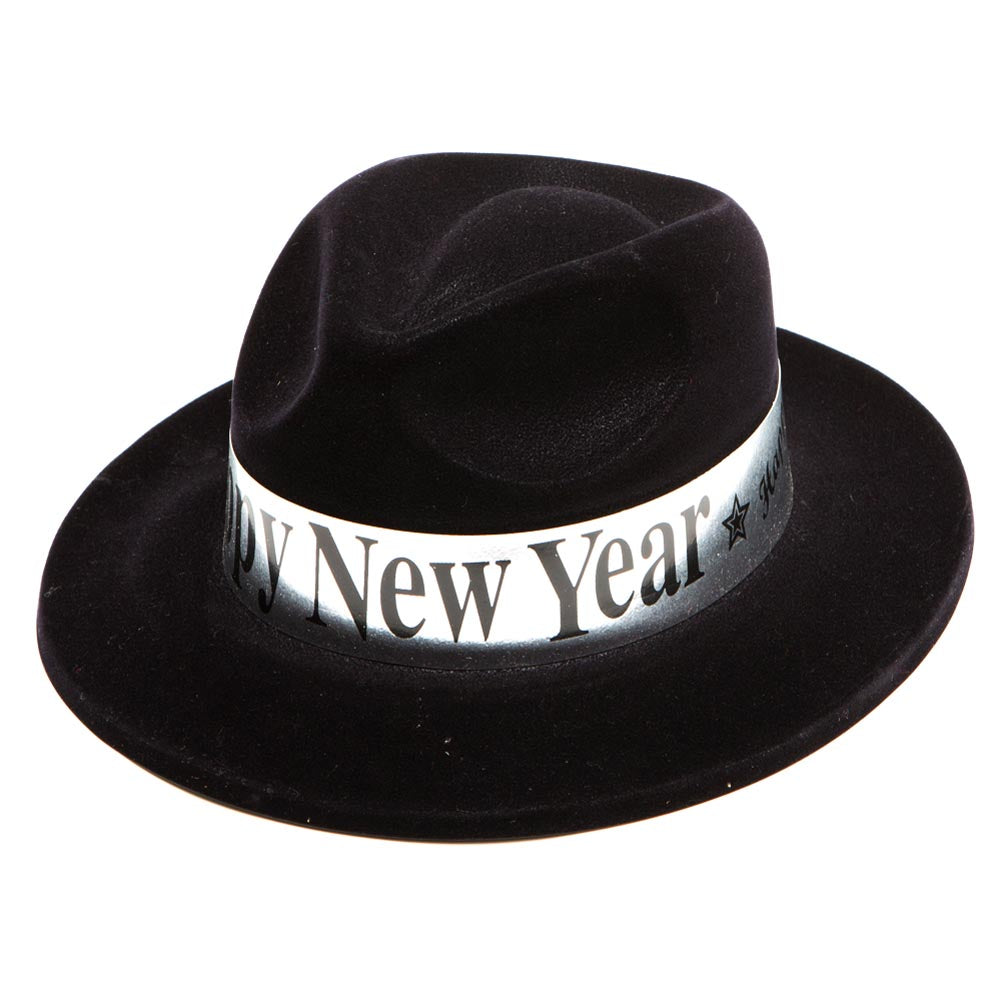 Happy New Years Black Velour Fedora