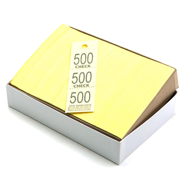Yellow Triplicate Coat Check Ticket