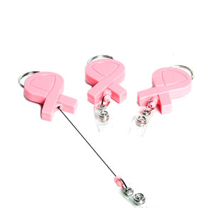 Pink Ribbon Retractable Badge Holders