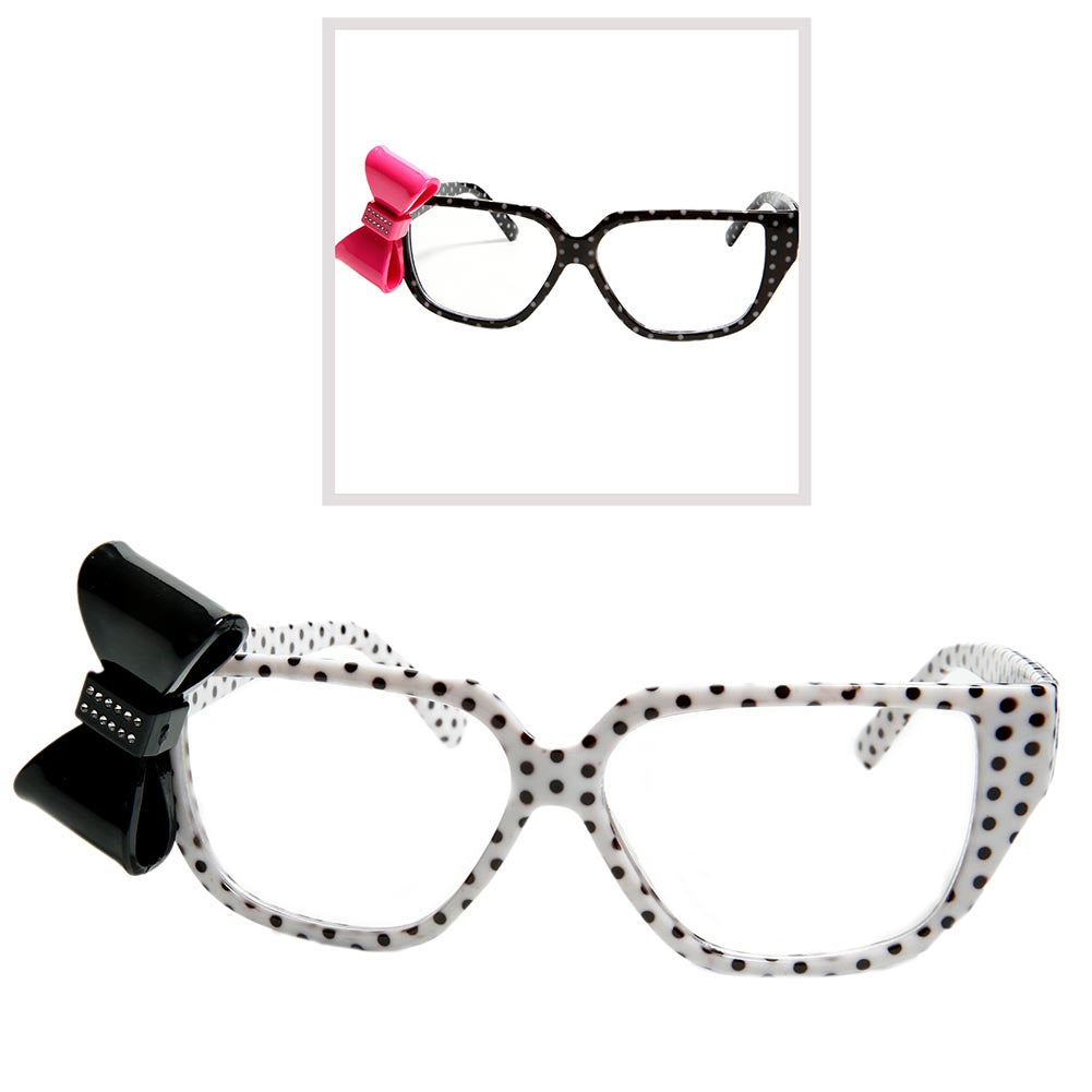 Polk-A-Dot Nerd Glasses With Bow