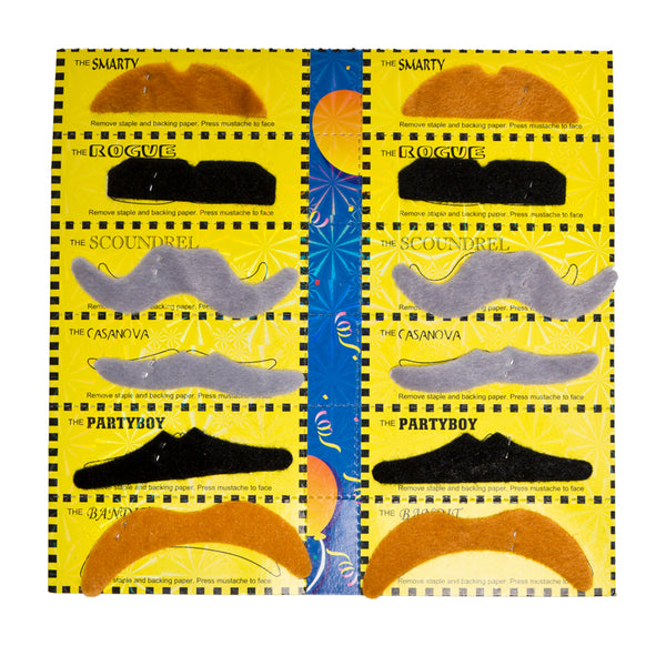 12 Pack Assorted Fake Mustaches
