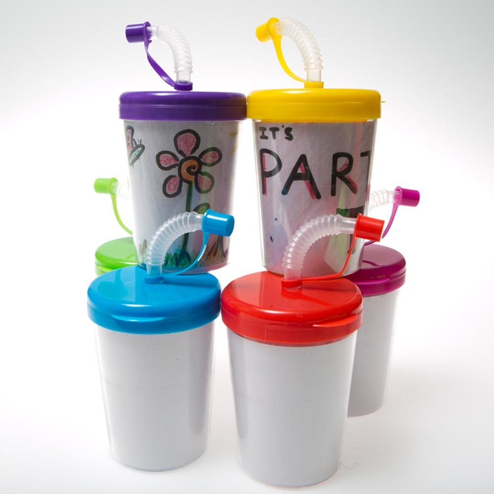 Color Your Own 8 oz. Straw Cups