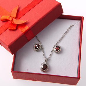 Garnet Inspired Necklace and Earring Gift Set