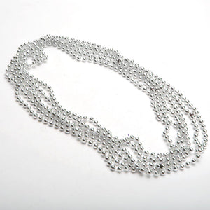 "33"" 7 mm Silver Mardi Gras Beads"