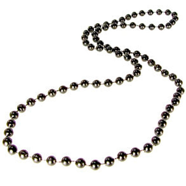 "33"" 7mm Black Mardi Gras Beads"