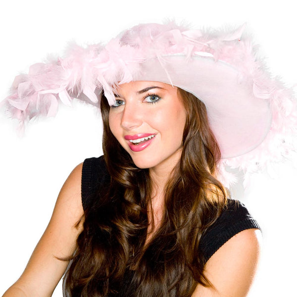 Pink Fluffy Feather Hat