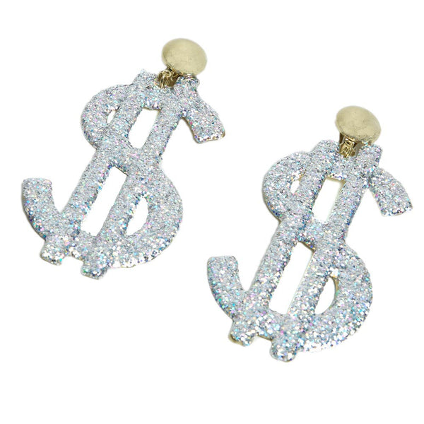 Dollar Sign Glitter Earrings