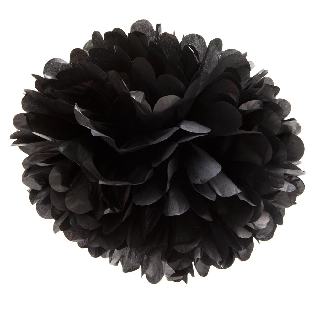 "Black 16"" Hanging Puff Ball"
