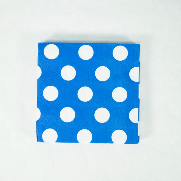 Royal Blue Polka Dot Beverage Napkins