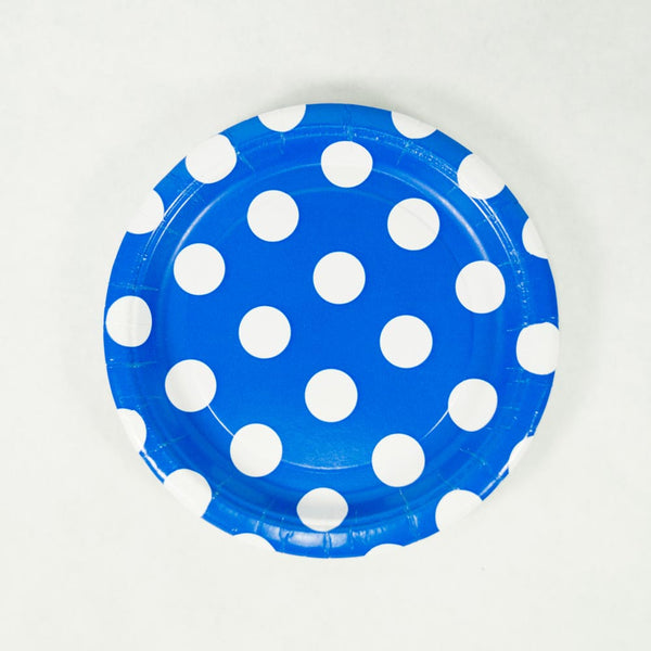 "Royal Blue Polka Dot 7"" Plates"