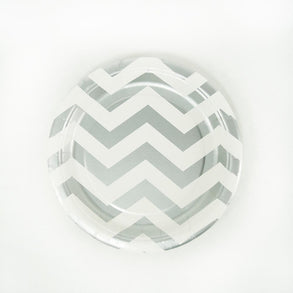 "Gray Chevron 7"" Plates"