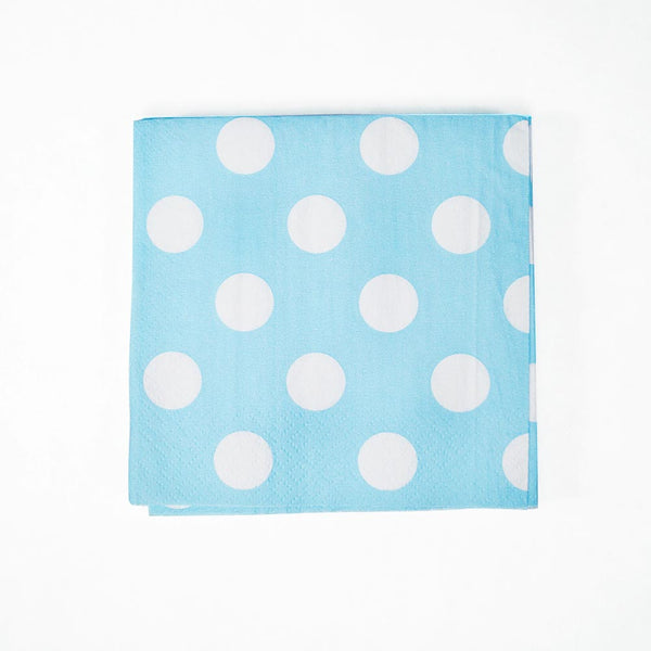 Baby Blue Polka Dot Beverage Napkins