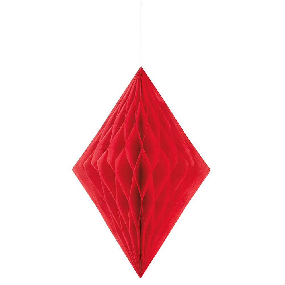 "Red 14"" Paper Diamond Decoration"