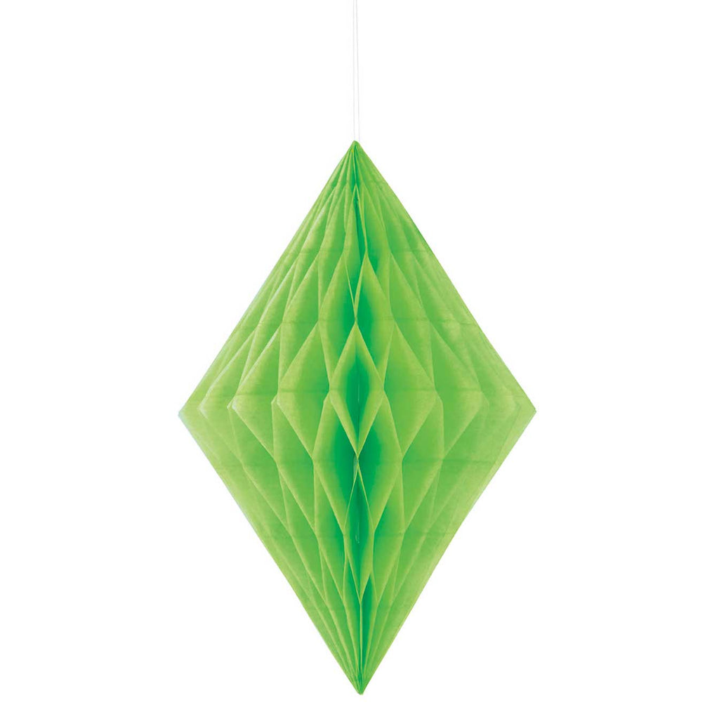 "Lime Green 14"" Paper Diamond Decoration"
