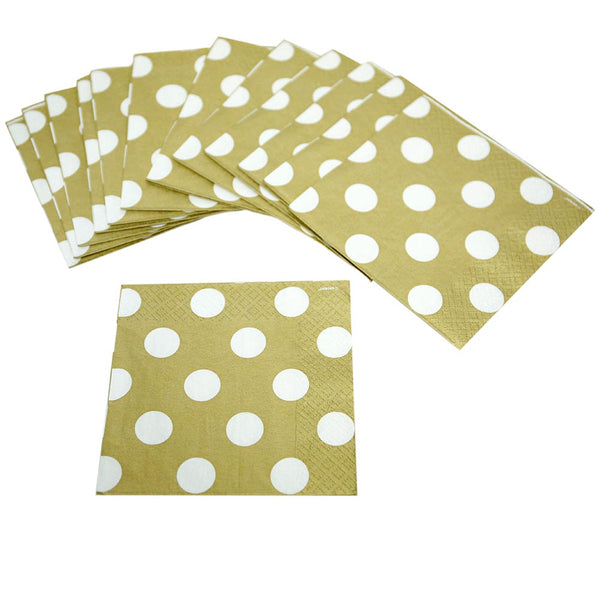Gold Polka Dot Beverage Napkins