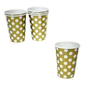 Gold Polka Dot 12 oz. Cups