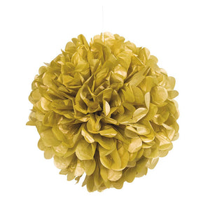 "Gold 16"" Hanging Puff Ball"