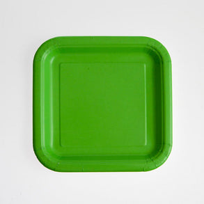"Lime Green 7"" Square Plates"