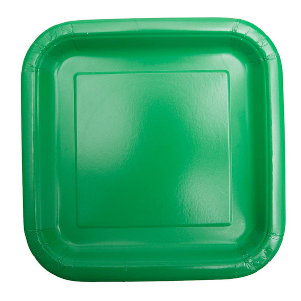 "Green 9"" Square Plates"