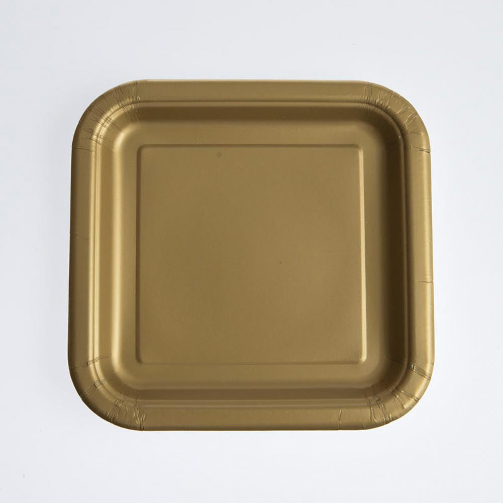 "Gold 7"" Square Plates"