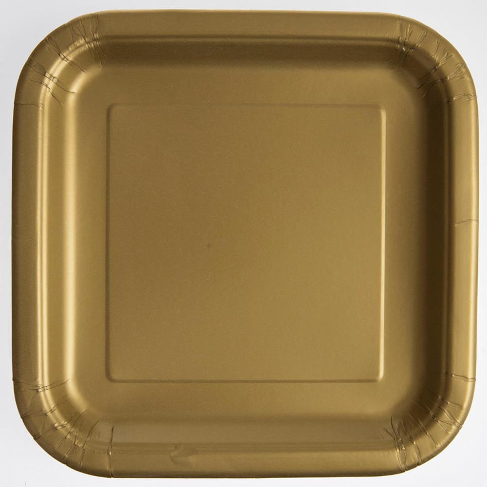 "Gold 9"" Square Plates"