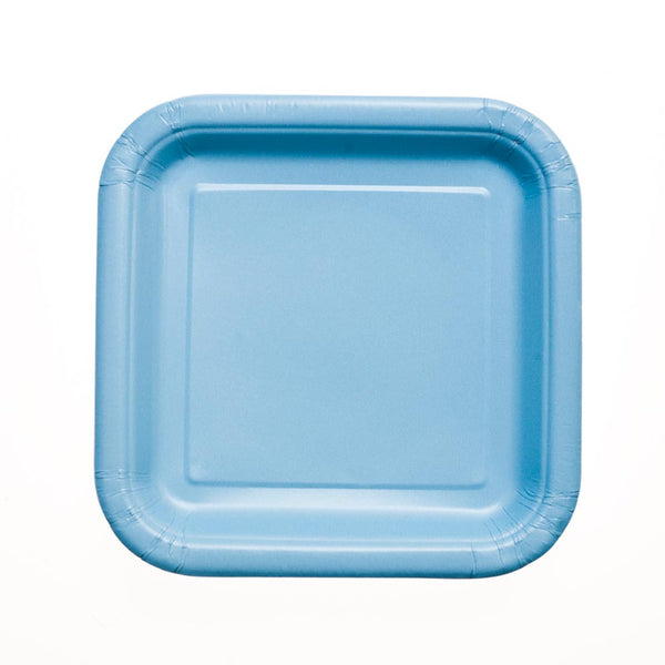 "Baby Blue 7"" Square Plates"