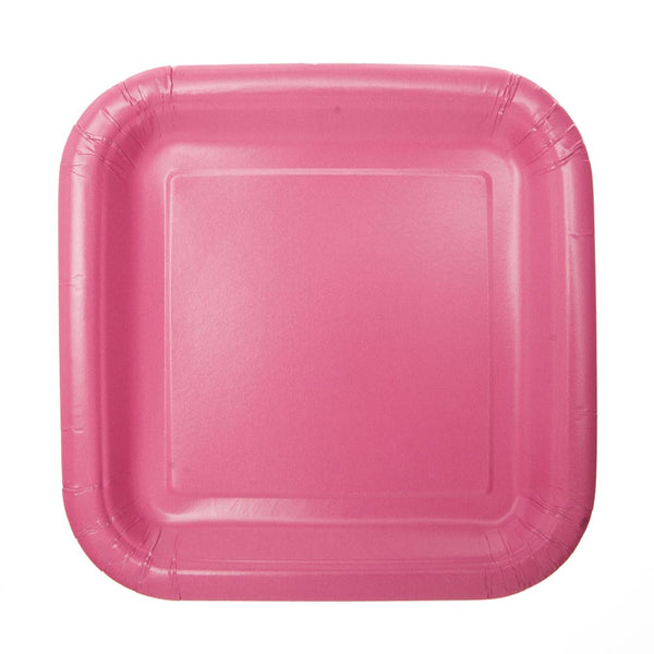 "Hot Pink 7"" Square Plates"