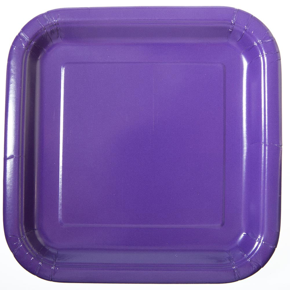 "Purple 9"" Square Plates"