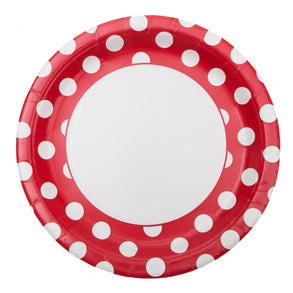 "Red Polka Dot 9"" Plates"