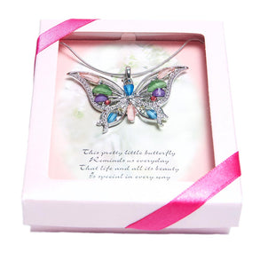 Gift Boxed Multi-Color Butterfly Necklace