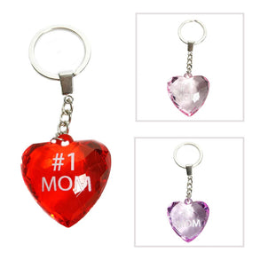 #1 Mom Heart Keychain