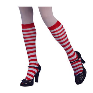 Red and White Striped Knee Socks