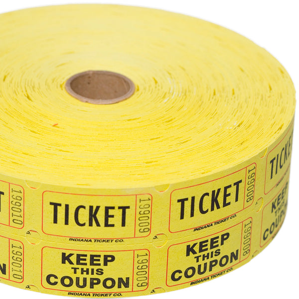 Yellow Double Raffle Ticket Roll
