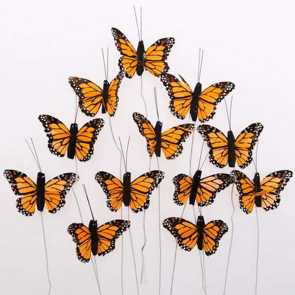 "2"" Feather Monarch Butterfly Decorations"