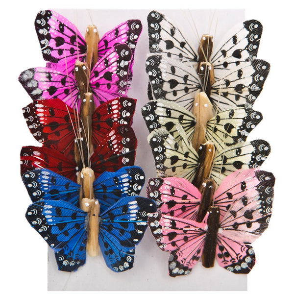 "1"" Feather Spotted Butterfly Decorations"