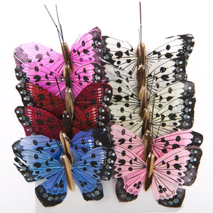 "2"" Feather Spotted Butterfly Decorations"