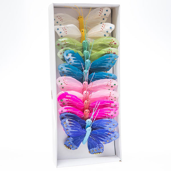 "5"" Feather Glitter Butterfly Decorations"