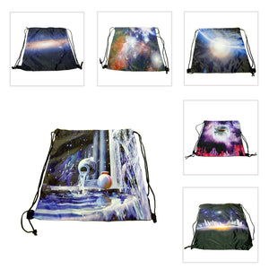 Galaxy Print Drawstring Backpacks