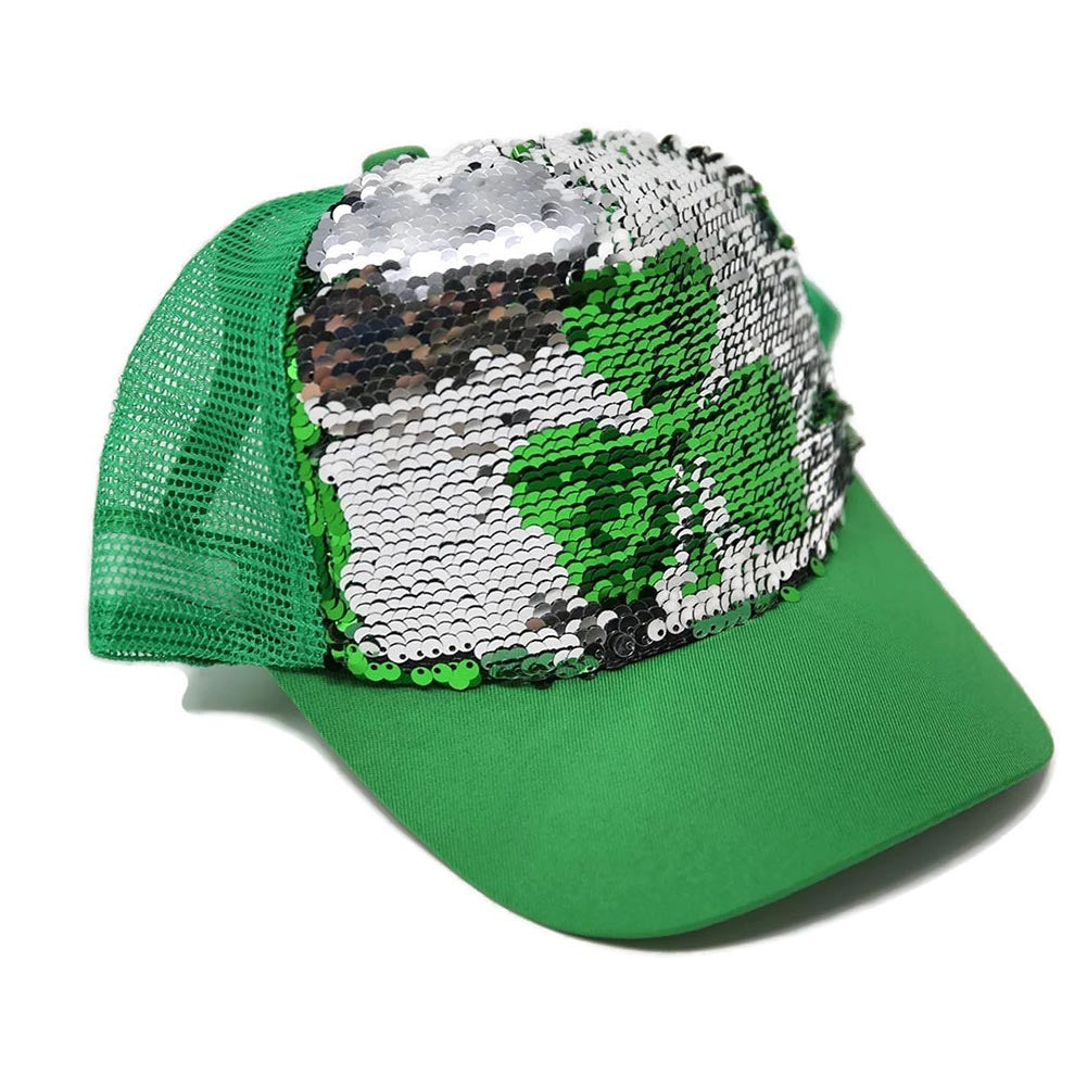 Shamrock Flipping Sequin Trucker Hat