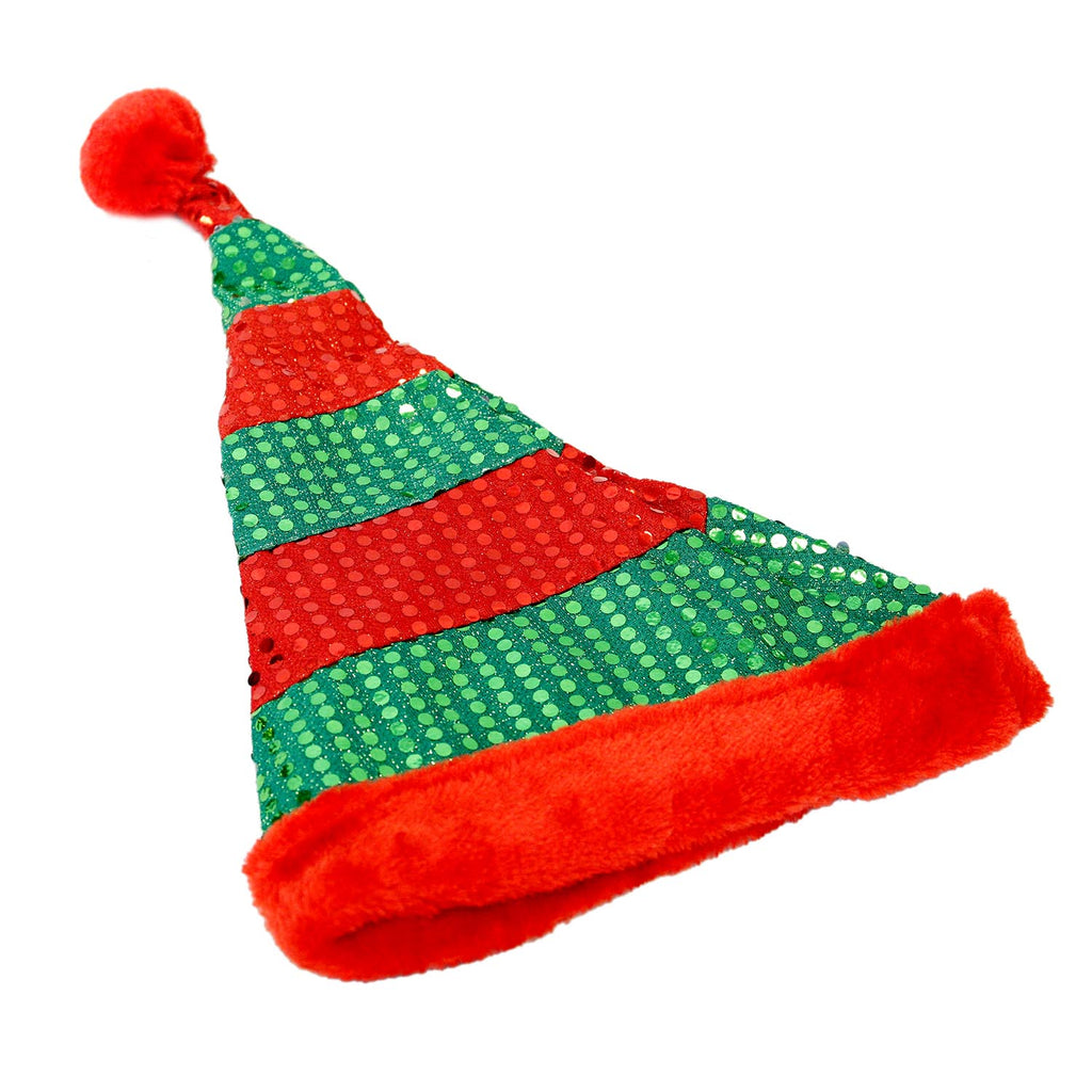 Christmas Stripe Sequin Santa Hat