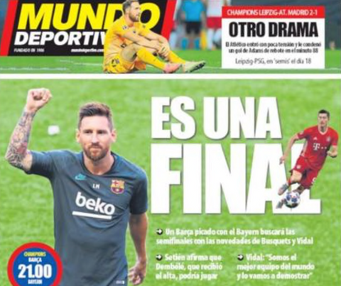 """This is a final"" titles Barcelona's Mundo Deportivo."