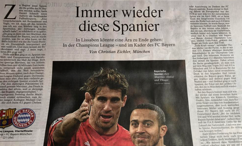 """Once again it's these Spaniards"" is Frankfurter Allgemeine Zeitung's back page spread."