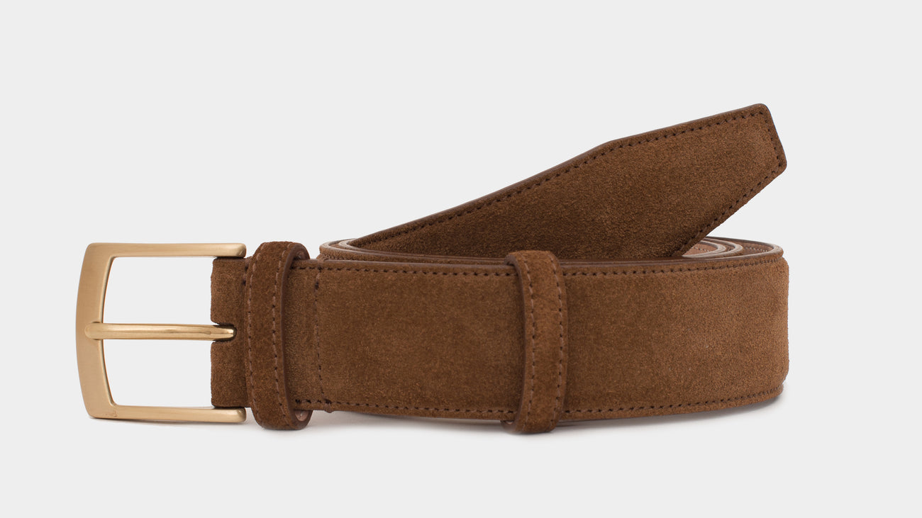 Velasca Belts Cinta Tobacco brown Suede calf leather