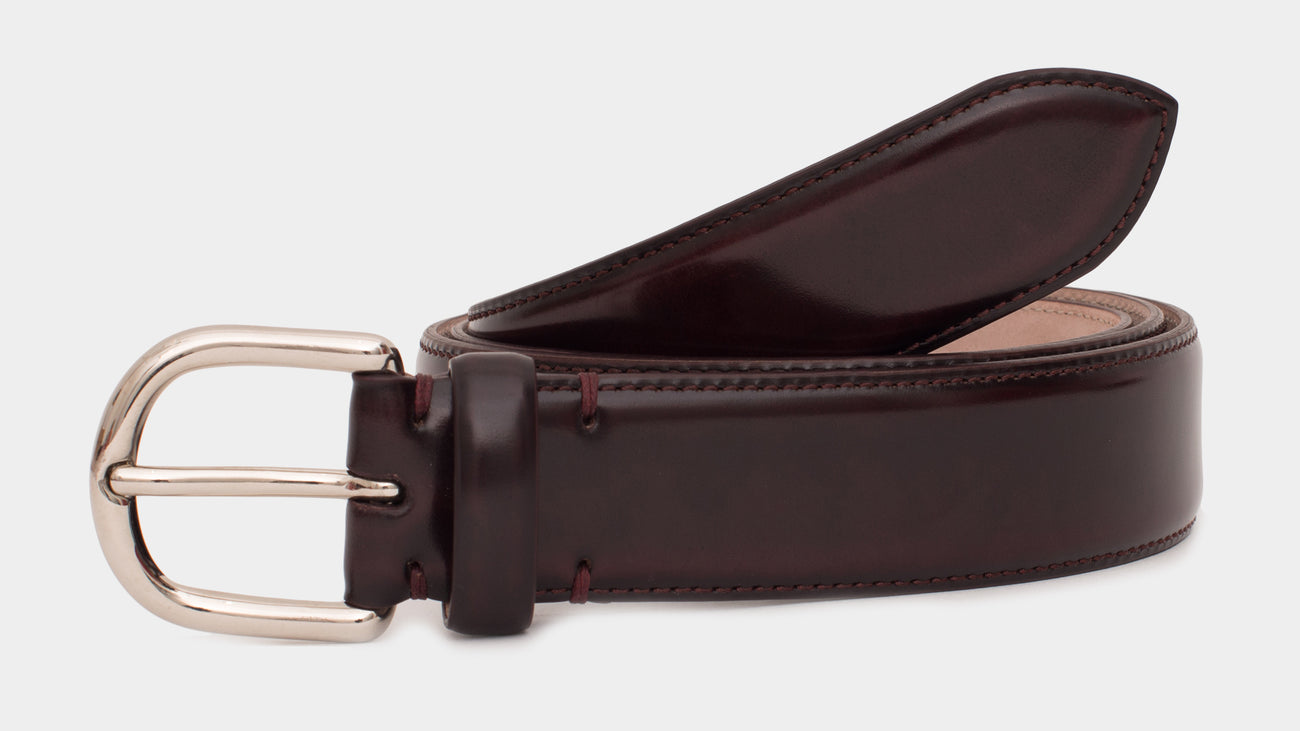 Velasca Belts Ciocch Burgundy brown Polished binder leather