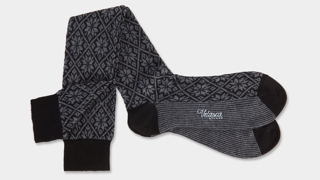 Velasca Defesta Black and Christmas pattern gray Wool